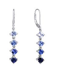 Women's Fashion Sterling Silver set with Create Sapphire Drop Earrings