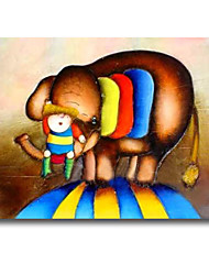Cartoon Baby And Elephant Cartoon Painting  For Children Room Wall Art Decoration
