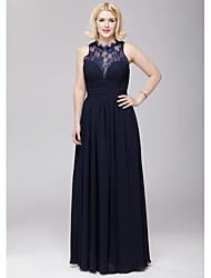 Floor-length Chiffon / Lace Bridesmaid Dress - Dark Navy A-line Jewel