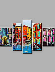 Stretched Framed Hand-Painted Oil Painting on Canvas Wall Art Modern Building City Home Deco Abstract Five Panels