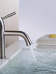 Zeitgenössisch Mittellage Einhand Ein Loch in Gebürstet Waschbecken Wasserhahn