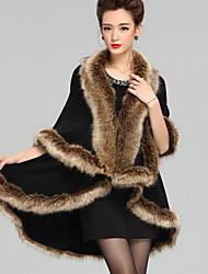 Women Raccoon Fur Shawl & Wrap , Without Lining