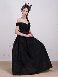 Cocktail Party / Formal Evening Dress - Black A-line Bateau Tea-length Lace / Tulle
