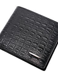 Men Cowhide Bi-fold Wallet - Brown / Black
