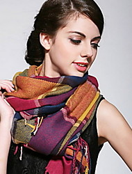 Colored Plaid Shawl Fringed Scarvesl Women Scarf