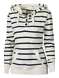 Women's Striped White Hoodies , Casual Hooded Long Sleeve