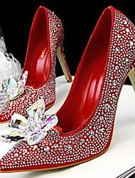 Women's Shoes Fleece Low Heel Heels Sandals / Heels Casual Black / Pink / Red / Gold / Bone / Coral