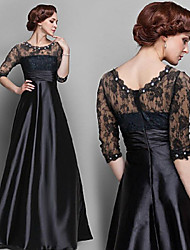 Bayue  Women's Patchwork / Lace / Solid Color Black Dresses , Vintage / Sexy / Party Round ½ Length Sleeve