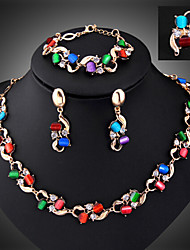 MISSING U Women Vintage Gold Plated / Alloy / Rhinestone / Resin Necklace / Earrings / Bracelet / Ring Jewelry Sets