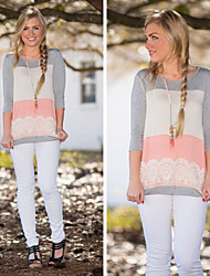 Women's Color Block Gray Tops & Blouses , Casual Round Long Sleeve