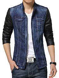 Men's Fashion Washed Denim Stitching Stand Collar Slim Fit Jacket