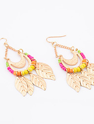 Women's Fashion Bright Beads Metal Leaf Pattern Earrings