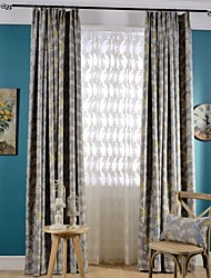 (Two Panels)Modern Leaf Printed Polyester  Blackout Curtain(Sheer Not Included)