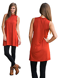Women's Solid Color Orange Dresses , Casual High-Neck Sleeveless