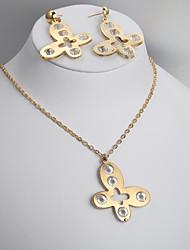 moda nuevos collar de la flor de mariposa conjuntos pendiente 5 de diamante europeas y americanas