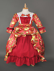 rococó inspirado vestido de noche wholesalelolita venta steampunk®top brocado rojo impresión lolita largo vestido de fiesta de María Antonieta