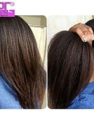 Natural Black 10-26inch densité de 130% crépus cheveux raides pleine perruque de dentelle avec des cheveux de bébé