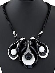 Korean Fashion Exquisite Horn Leaf Wild Black Rope Necklace