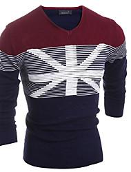 Suéteres ( Algodón Compuesto )- Casual / Trabajo Escote en V Manga Larga para Hombre