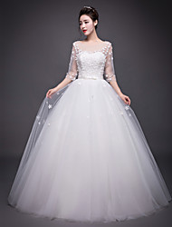 A-line Wedding Dress Floor-length Jewel Organza with Beading / Flower / Sash / Ribbon