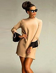 Dominic Women's Color Block Black / Yellow Dresses , Casual Round Long Sleeve
