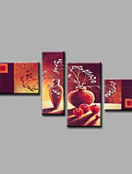 Ready to Hang Stretched Hand-painted Oil Painting Canvas Wall Art Still Life Flowers Fruits Four Panels