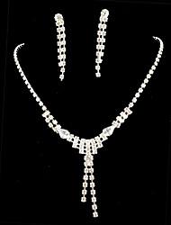 Wedding Bridal Bridesmaid Crystal Necklace Earrings Jewelry Set
