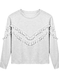 Spring Women's Fashion Tassel Decoration Round Neck Long Sleeve Casual T Shirt Comfortable Tops Blouse