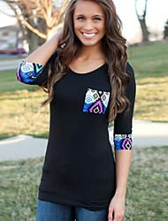 Ronde hals - Katoen / Polyester - Bloem - Vrouwen - T-shirt - Driekwart mouw