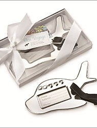 Chrome Airplane Luggage Tag in Elegant White Box Party Souvenir
