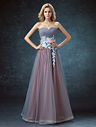 Ball Gown Sweetheart Floor Length Tulle Prom Dress with Bow