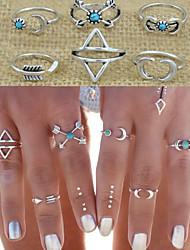 Anéis Pesta / Diário / Casual Jóias Liga Feminino Anéis Meio Dedo 1conjunto,8 Prateado