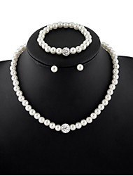 Pearl Jewelry Set include Necklace & Earrings & Bracelet for Wedding Party