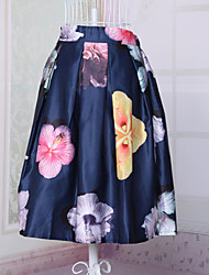 Fashion Women's Elegant Vintage Printing Slim Elastic Waist Knee-length Luxury Skirts