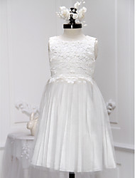 A-line Knee-length Flower Girl Dress - Lace Tulle Scoop with Lace