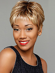Fashionable Woman's Light Gold Straight Short Synthetic Mix Wigs