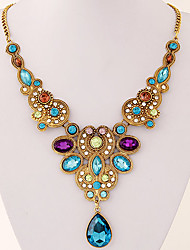 European Style Fashion Metal Wild Imitation Gem Drop Necklace