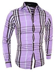 Camicia Uomo Casual A quadri Misto cotone Manica lunga Viola