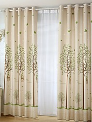 Two Panels Country Floral Botanical Beige Bedroom Linen Cotton Blend Panel Curtains Drapes