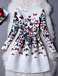 Women's Multicolor Butterfly Print Round Long Sleeve Slim Dress