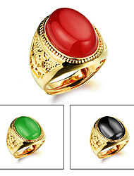 Agate Stone Men 24 K Gold Ring