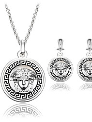 Women Party Ancient Greek Beauty Sculpture Head Silver Clavicle Chain Necklace Earrings Two-piece