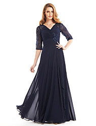 A-line Mother of the Bride Dress Floor-length Half Sleeve Chiffon with Beading / Criss Cross