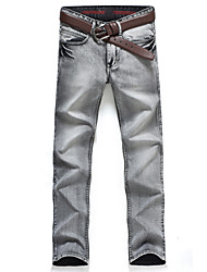 New Arrival Fashion Men's Jeans Slim Water-washed Straight Pants Light GrayBANT10