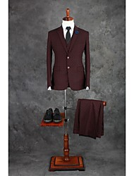 Suits Tailored Fit Notch Single Breasted Two-buttons Cotton Blend Checkered / Gingham 3 Pieces Chocolate