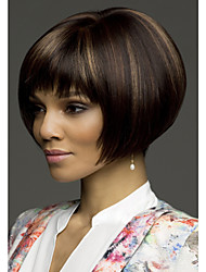 Top Grade Synthetic Black Brown Short Straight Bob Hairstyle Wig for Women