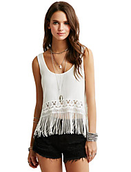 Women Tank Top Crochet Lace Tassel Fringe Scoop Neck Sleeveless Casual Camisole Top