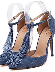 Women's Shoes Denim Stiletto Heel Pointed Toe Heels Dress Blue