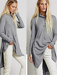 Women's Solid Color Gray Dresses , Casual High-Neck Above Knee