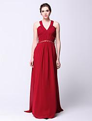 TS Couture® Formal Evening Dress - Beautiful Back Plus Size / Petite Sheath / Column V-neck Sweep / Brush Train Chiffon withCrystal Detailing / Criss